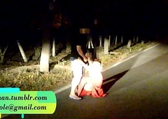 Pranya acquiring fucked on running road with Police Sirens behind