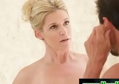 Blonde milf prepare her client for massage - India Summer &amp_ Tommy Gunn