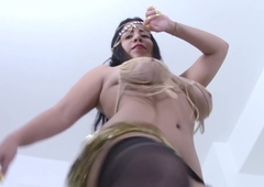 Nude Belly Dance Enclosing Natural and Titillating back Broad in the beam Hanging Tits