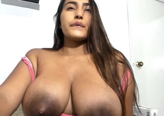 Knockout latina has huge lactating leaky fake tits