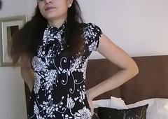 Indian hottie jasmine strippin operate from her bedroom